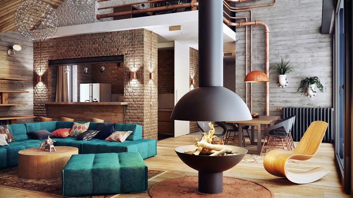 studio dans un décor photo de style loft