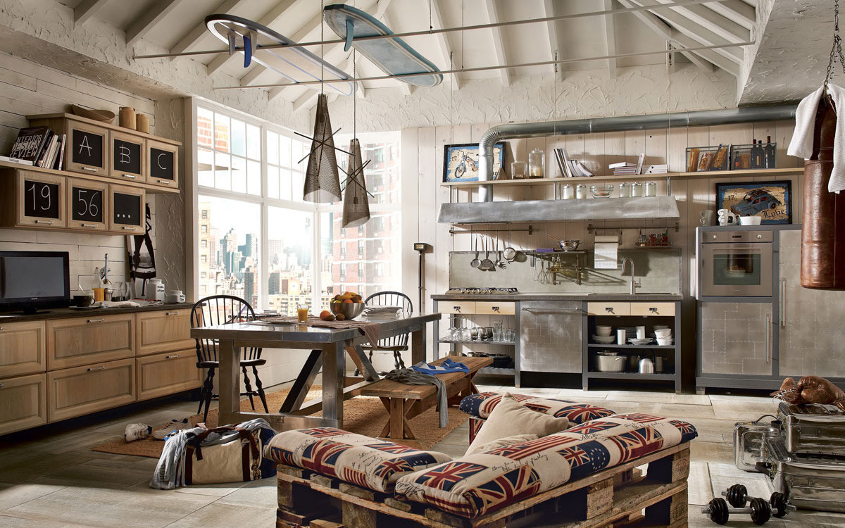 studio dans la photo d'intérieur de style loft