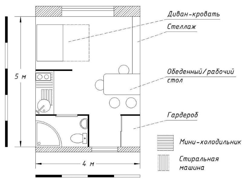 Le plan du studio est de 20 mètres carrés