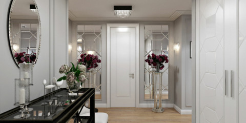 décoration photo gris hall d'entrée