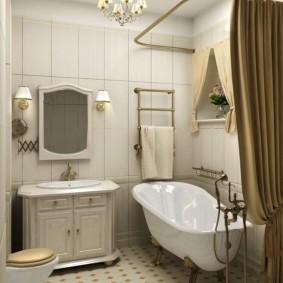 Rideau direct sur baignoire en acrylique blanc