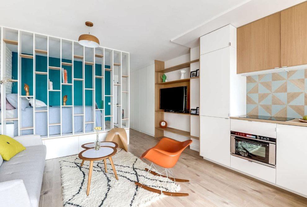 Zonage avec un rack d'un studio de 20 m²