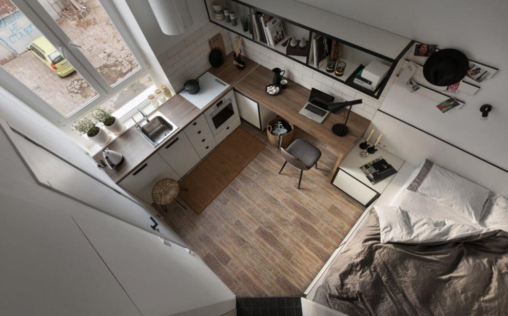 Studio design avec cuisine et lit