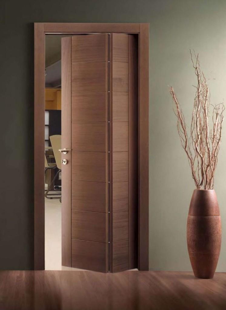 Double porte pliante marron