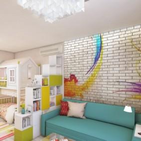 la combinaison du salon et du design photo pour enfants