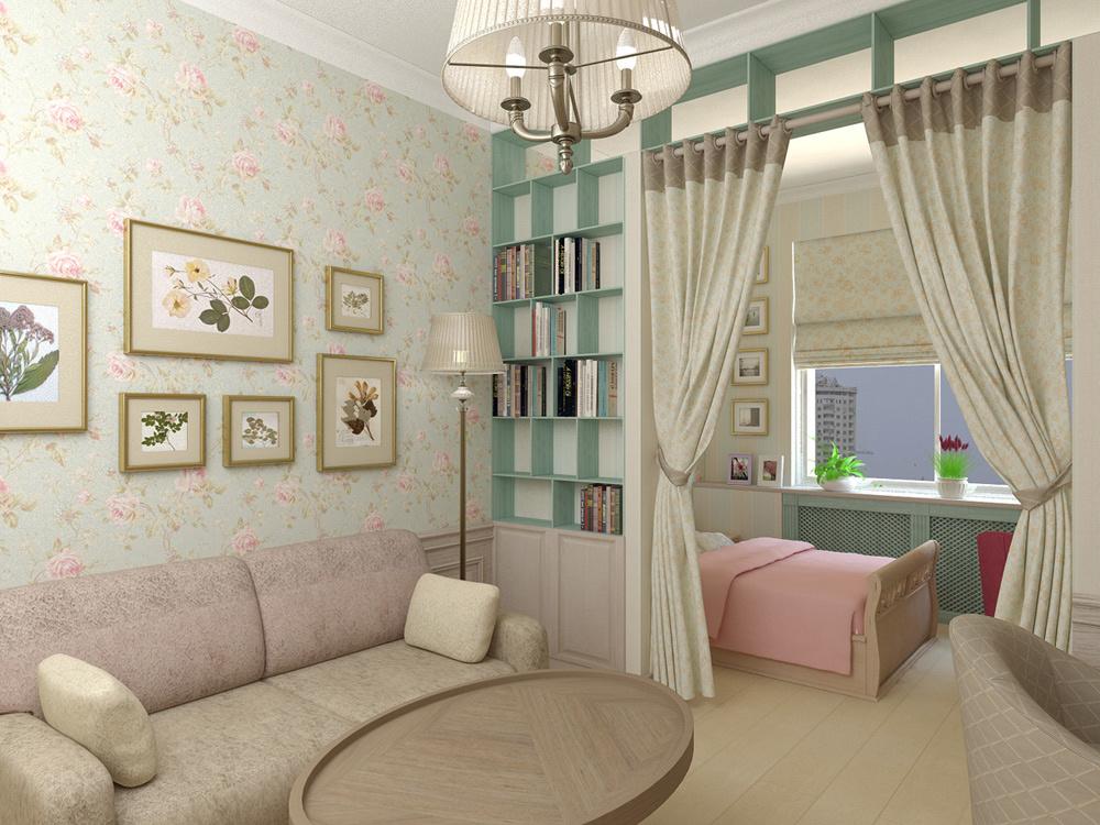 salon et chambre d'enfants dans une seule pièce