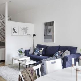 phòng khách và phòng ngủ trong cùng một thiết kế ảnh phòng