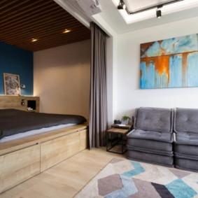 phòng khách và phòng ngủ trong một ý tưởng phòng