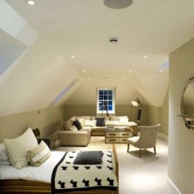 phòng khách và phòng ngủ trong một ý tưởng thiết kế