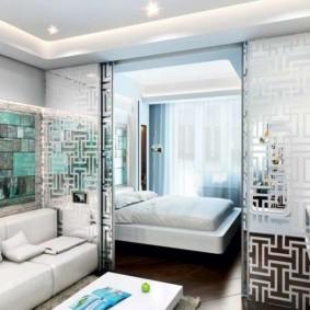 phòng khách và phòng ngủ trong một ý tưởng nội thất phòng
