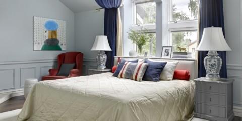 chambre avec un lit par la fenêtre photo design