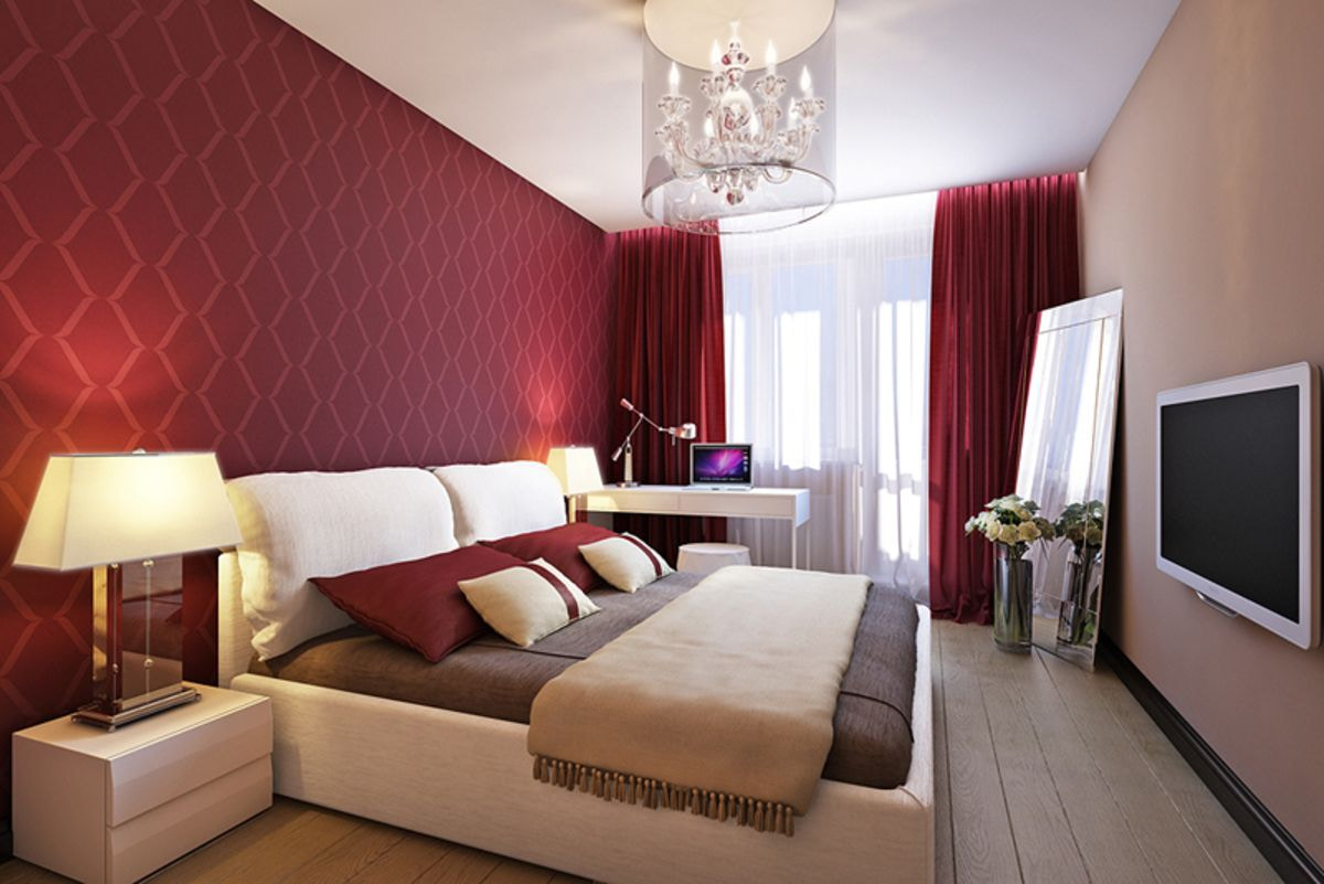 chambre beige avec bordeaux