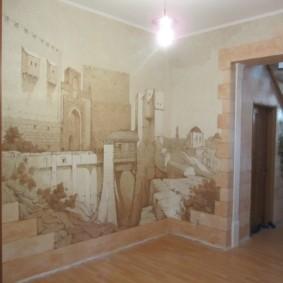 papier peint liquide dans le couloir château sur le mur