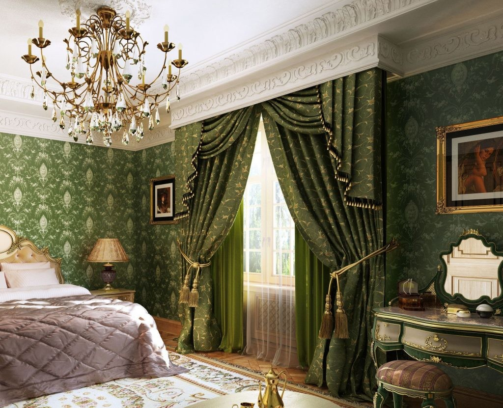 Rideaux verts sur un rebord caché dans une chambre baroque