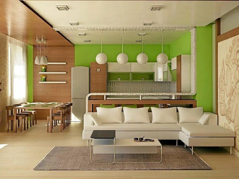 تقسيم غرفة المعيشة في المطبخ مع اللون والملمس
