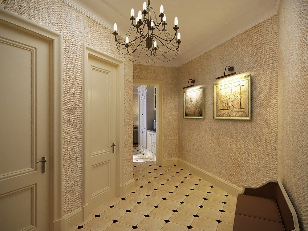 papier peint liquide dans le couloir dans un style classique