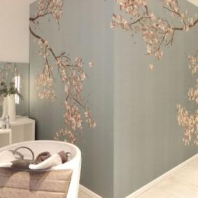 papier peint liquide dans le couloir de sakura