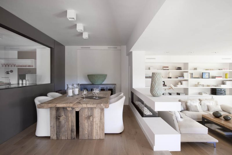 تقسيم مطبخ غرفة الطعام في غرفة المعيشة باستخدام المنصة