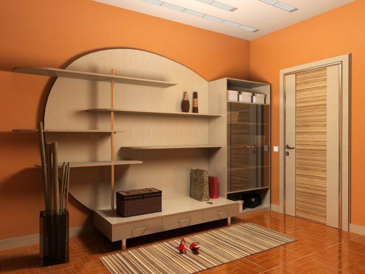 couloir dans un appartement orange