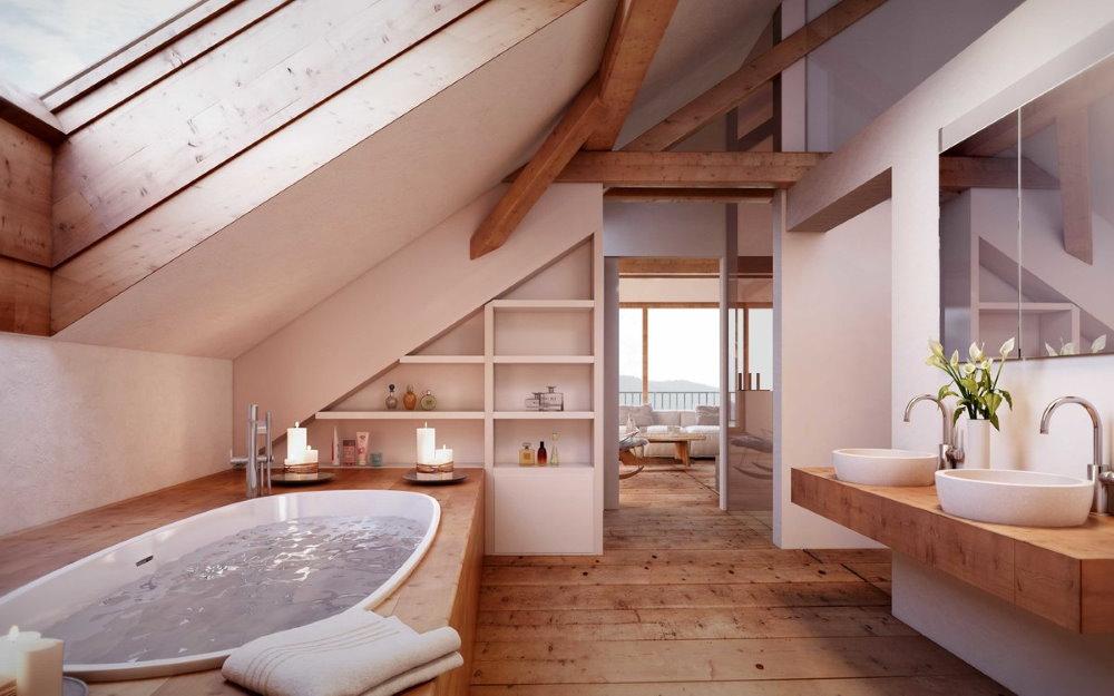 Salle de bain lumineuse dans le grenier d'une maison de campagne