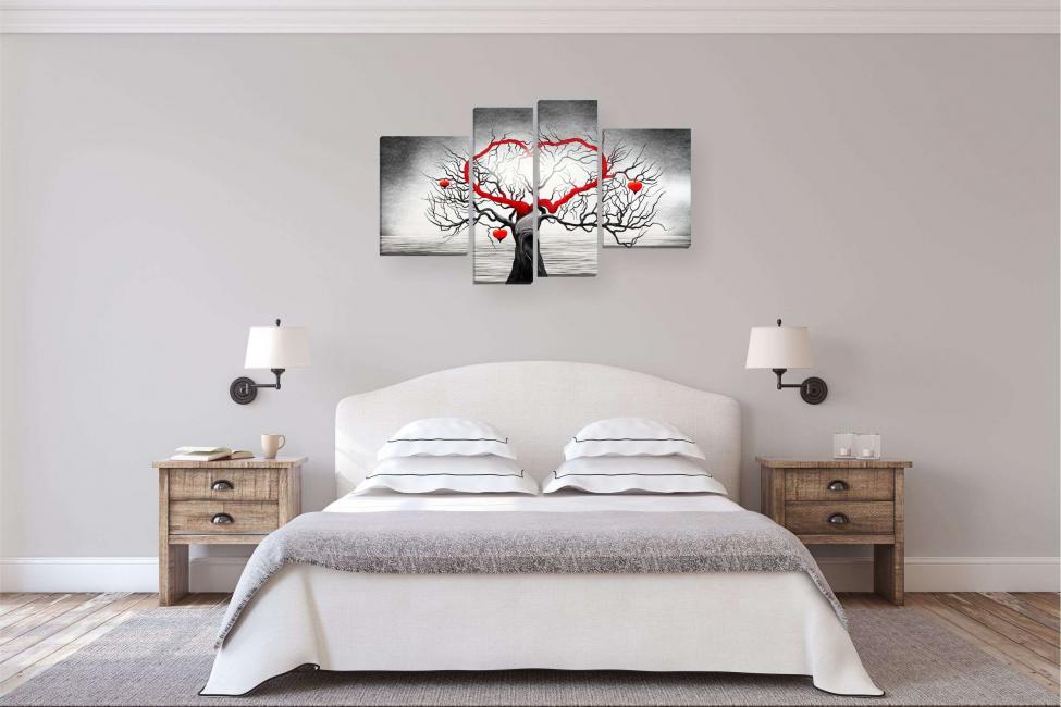 Image modulaire comme décor d'un intérieur de chambre à coucher