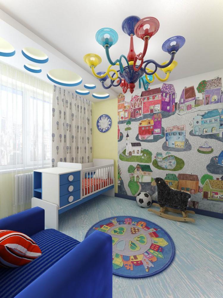 Intérieur d'une chambre d'enfant après réaménagement d'un appartement de deux pièces