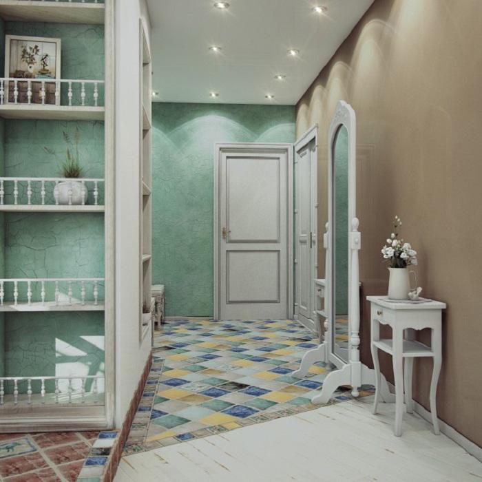 conception de couloir avec papier peint