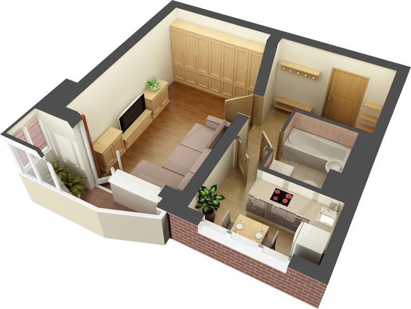 Projet de conception odnushki dans une maison en panneaux 44 T