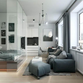 salon chambre design 16 m² vue photo