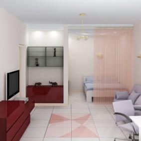 Rideaux lumineux dans la salle commune de l'appartement