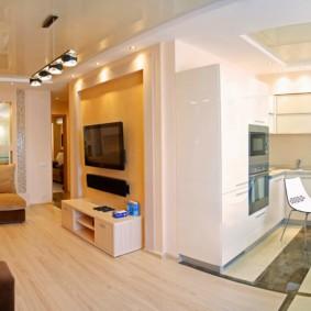 Cuisine et salon dans l'appartement