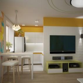 La conception de la cuisine-salon après le réaménagement