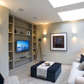 Éclairage d'un salon moderne dans un appartement