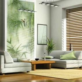 Séjour dans un appartement avec des éléments de style éco