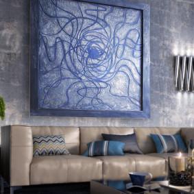 Panneau décoratif sur le mur du salon