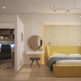 Conception d'une chambre féminine avec un lieu de travail