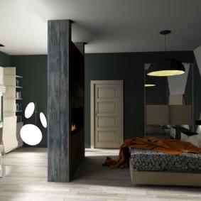 Zonage d'une chambre moderne avec cloison