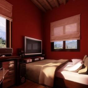 Murs bourgogne de la chambre avec bureau