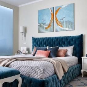 Tête de lit douce en bleu