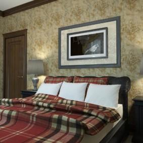 Cage écossaise sur textile dans la chambre