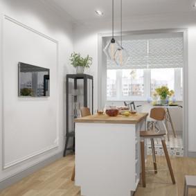 Îlot dans la cuisine dans un studio