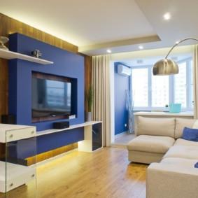 Accents bleus dans un appartement de style moderne