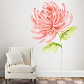 Dessin d'une fleur avec des peintures à l'aquarelle