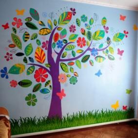 Décoration murale pour enfants en applique en papier coloré