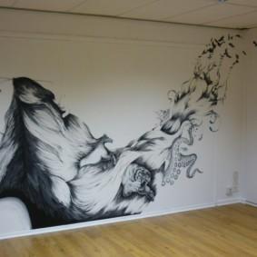Peinture d'art sur le mur de la salle