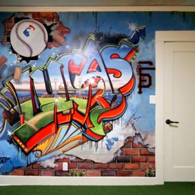 Graffiti à l'intérieur de l'appartement