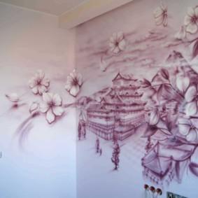 Hall d'entrée d'un appartement avec photo au mur