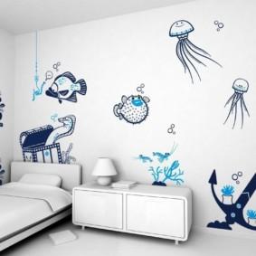L'image sur le mur au lieu du papier peint