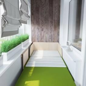 De plus en plus de verts dans des conteneurs sur le balcon