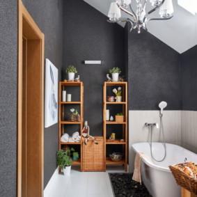 Murs gris d'une salle de bain moderne